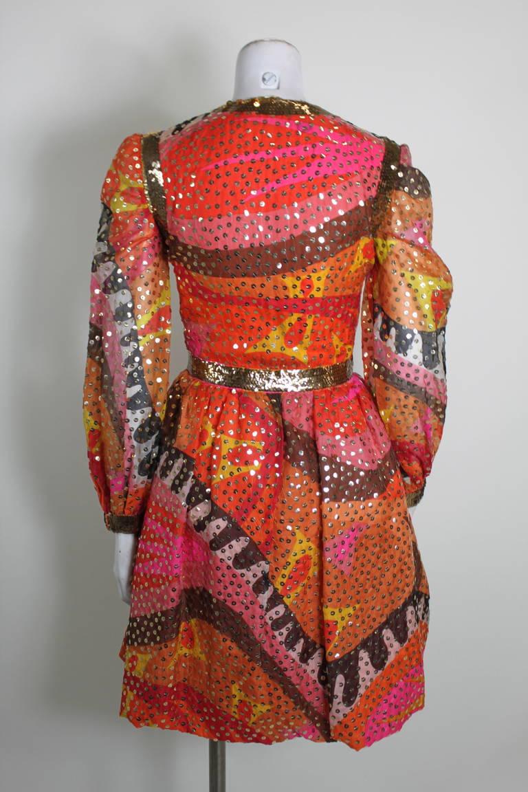 1960s Oscar de La Renta Dazzling Sequined Sherbet Party Dress 4