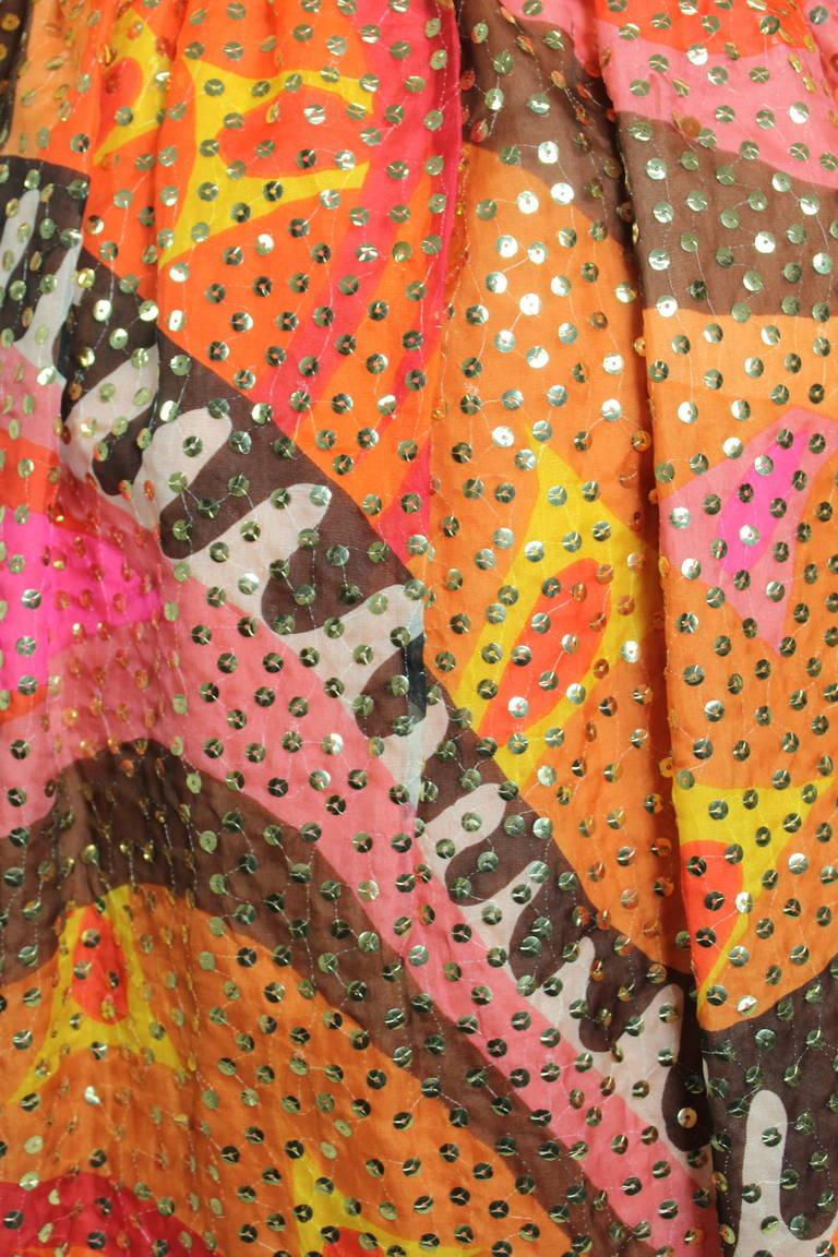 1960s Oscar de La Renta Dazzling Sequined Sherbet Party Dress 5