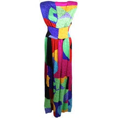 1980s Scaasi Memphis Design Colorblock Gown
