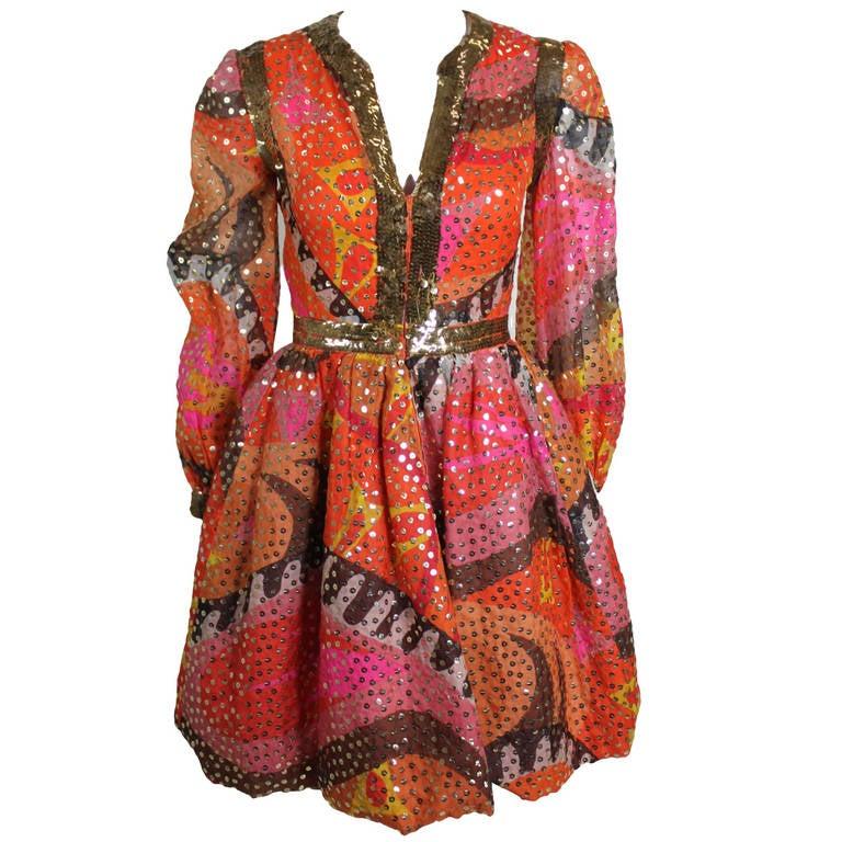 1960s Oscar de La Renta Dazzling Sequined Sherbet Party Dress 1