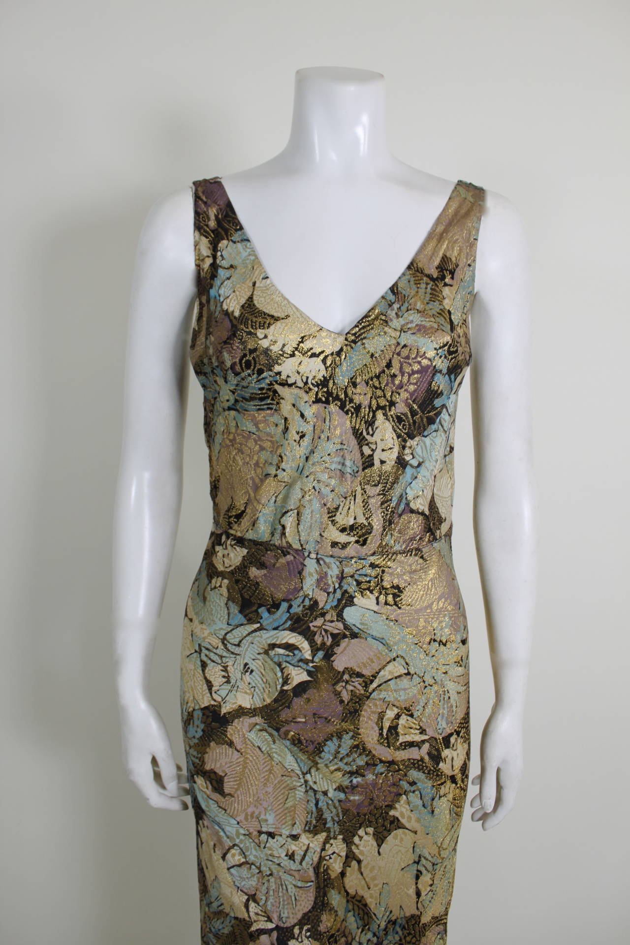 1930s Stunning Botanical Bias Cut Lamé Gown with Train 2