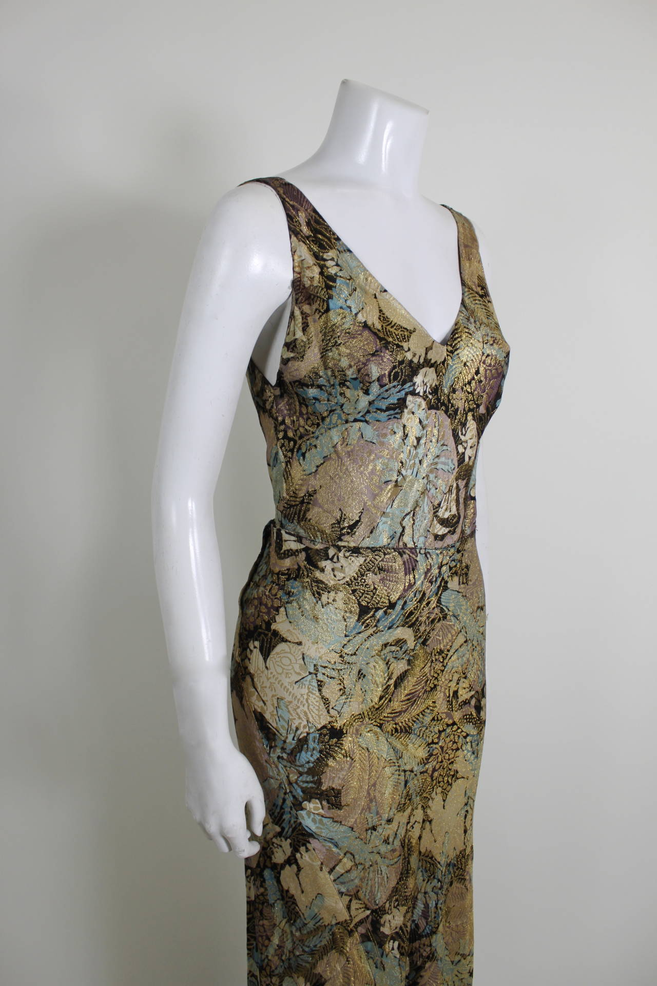 1930s Stunning Botanical Bias Cut Lamé Gown with Train 3