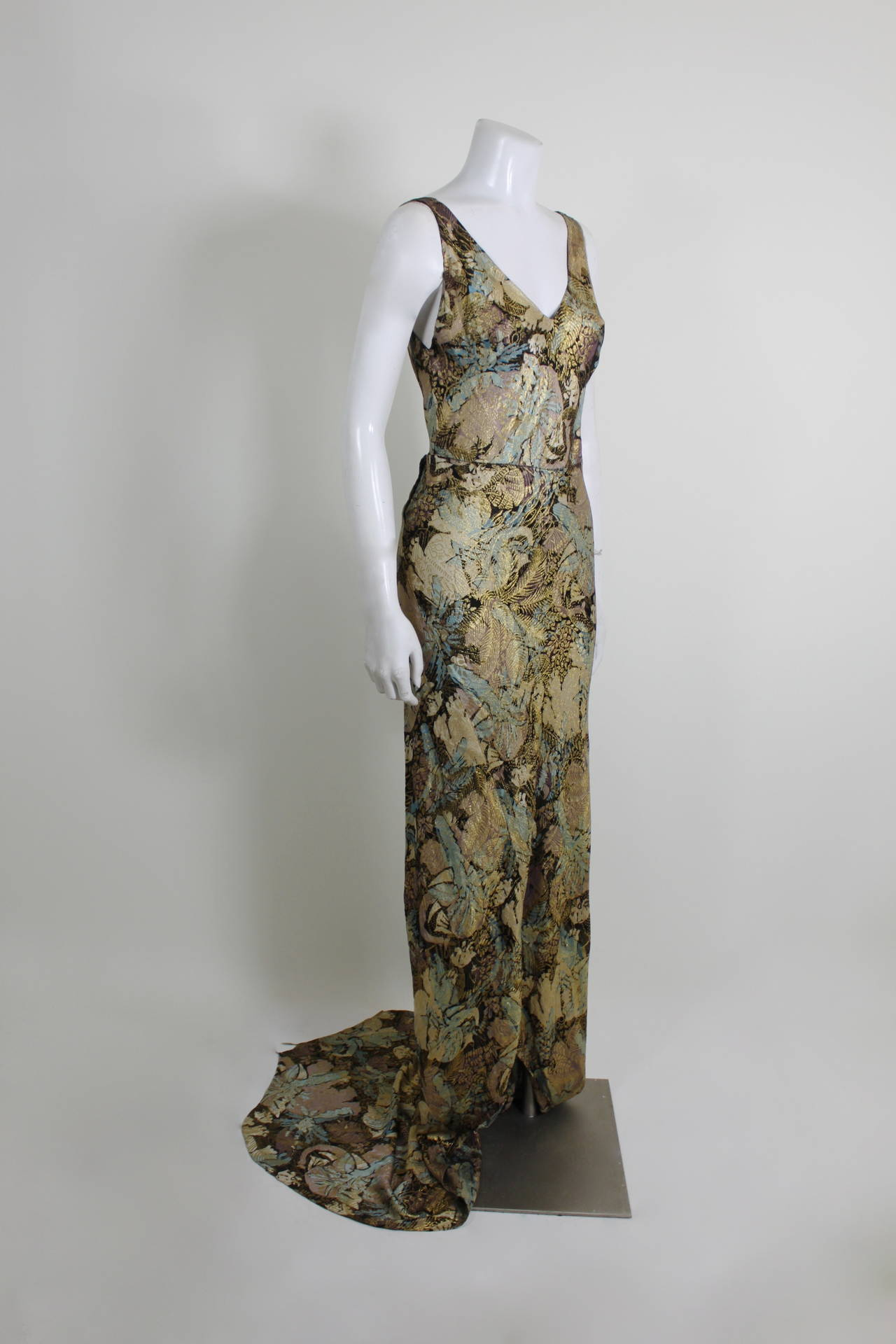 1930s Stunning Botanical Bias Cut Lamé Gown with Train 4