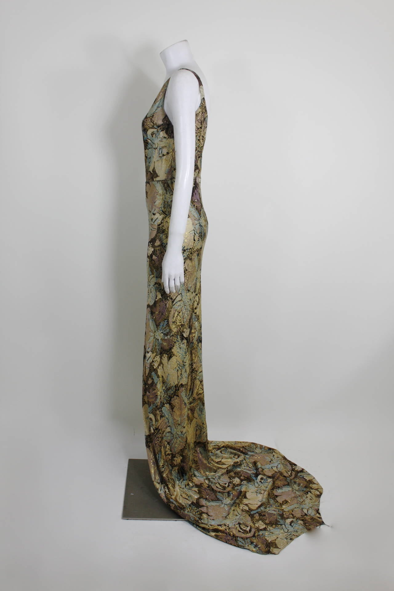 1930s Stunning Botanical Bias Cut Lamé Gown with Train 5