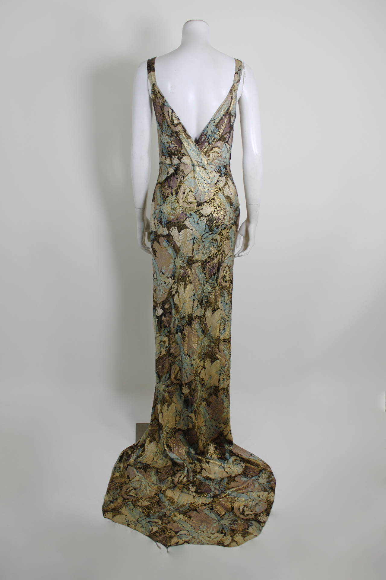 1930s Stunning Botanical Bias Cut Lamé Gown with Train 7