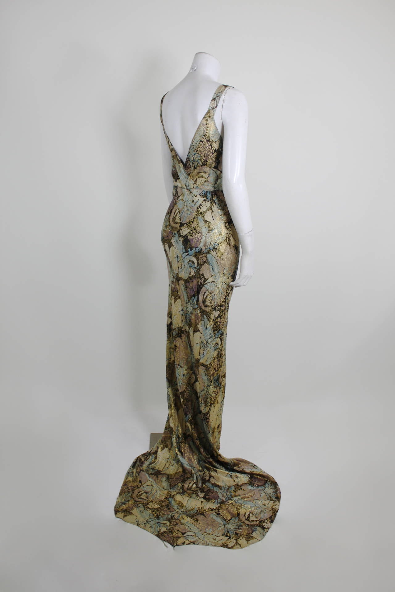 1930s Stunning Botanical Bias Cut Lamé Gown with Train 8