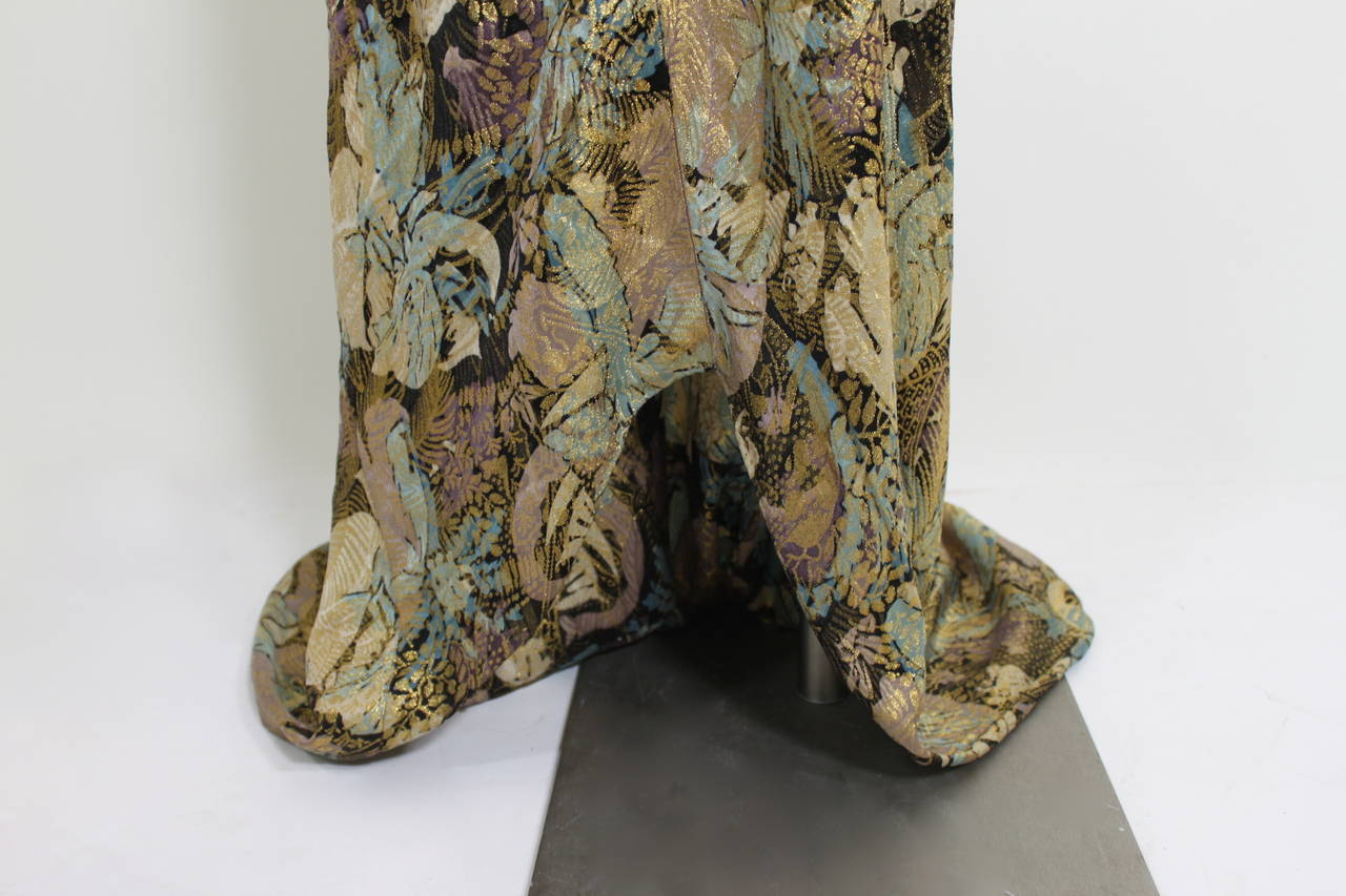 1930s Stunning Botanical Bias Cut Lamé Gown with Train 9