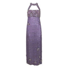 1990s Lavender Floral Motif Sequined & Beaded Gown