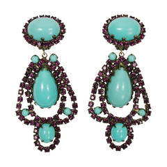 Kenneth Jay Lane 1960s Faux Turquoise and Plum Rhinestone Earrings