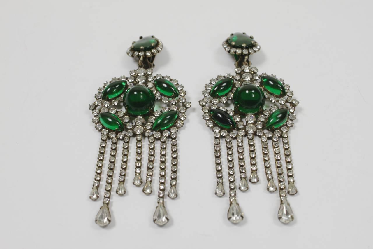 1960s Kenneth Jay Lane Fabulous Emerald Green Chandelier Earrings 3