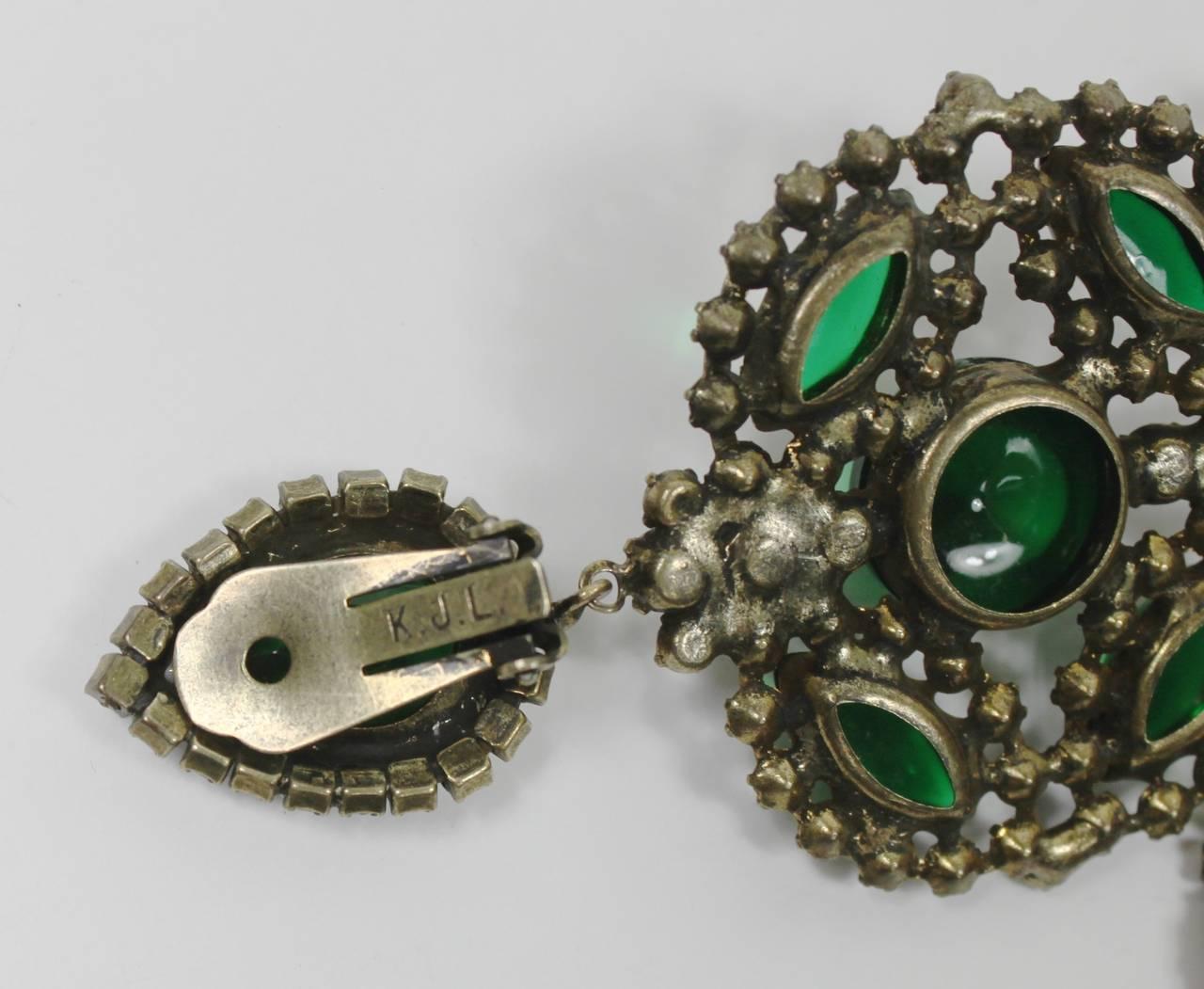 1960s Kenneth Jay Lane Fabulous Emerald Green Chandelier Earrings 5