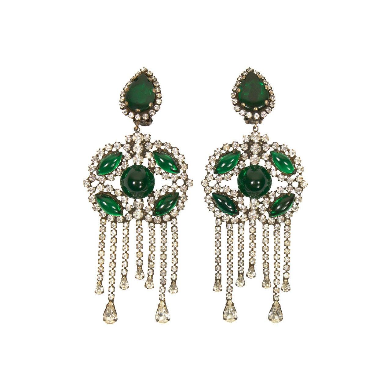 1960s Kenneth Jay Lane Fabulous Emerald Green Chandelier Earrings 1