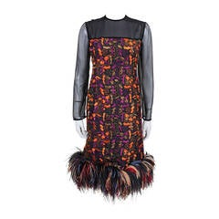 Fabulous Embroidered Cocktail Dress with Rainbow Ostrich Feather Trim