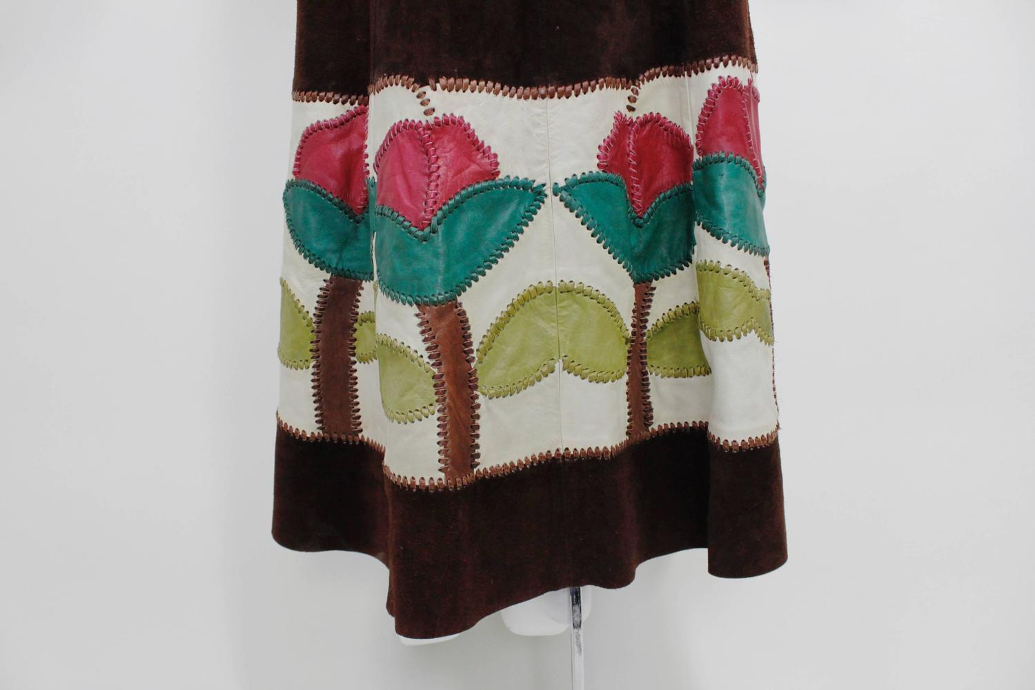 1970s Char Suede Vest With Patchwork Appliqu 233 And Leather