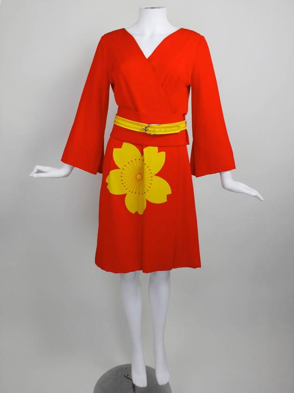 1980s Hanae Mori Blossom Obi Cocktail Dress 2