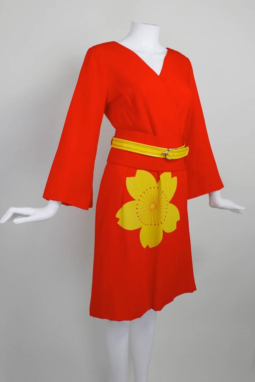 1980s Hanae Mori Blossom Obi Cocktail Dress 3