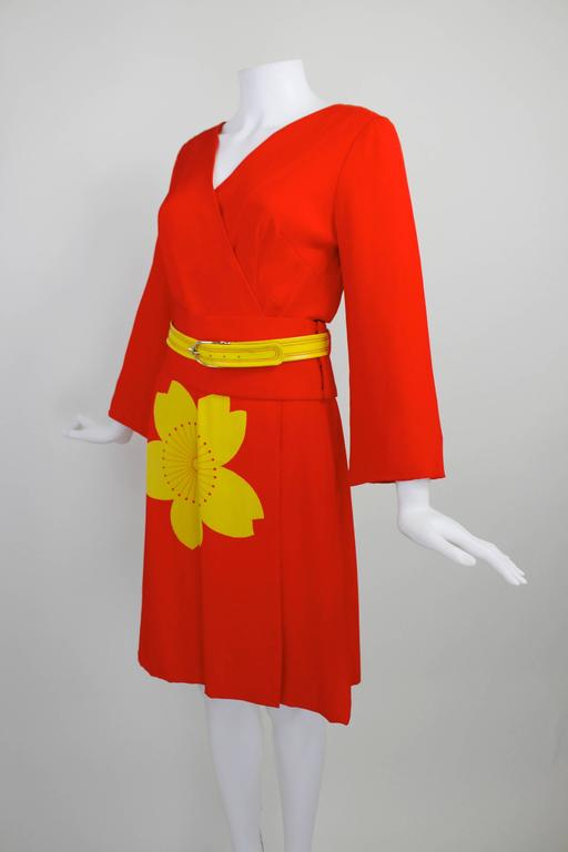 1980s Hanae Mori Blossom Obi Cocktail Dress 4