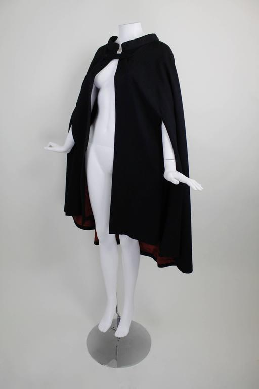 1960s Pierre Cardin Iconic Black Wool Cape with Silk Lining 6