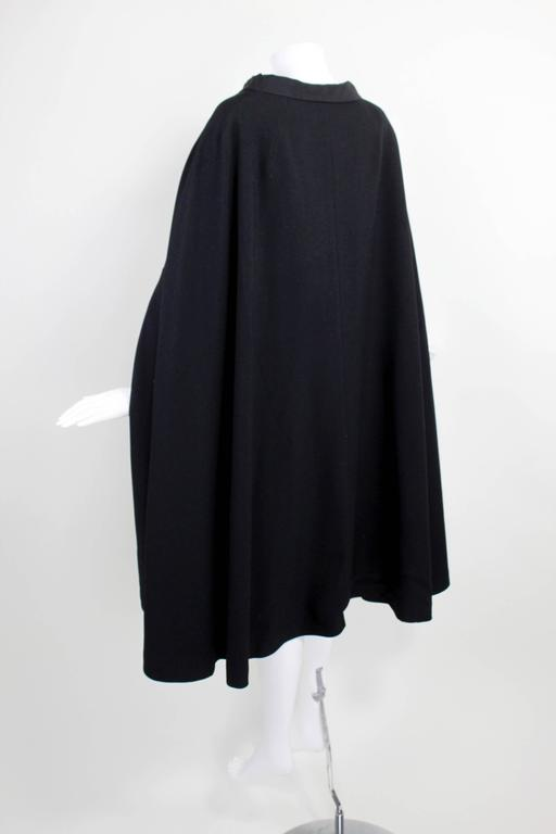1960s Pierre Cardin Iconic Black Wool Cape with Silk Lining 5