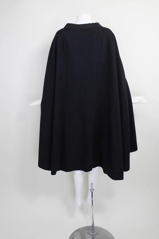 1960s Pierre Cardin Iconic Black Wool Cape with Silk Lining 2
