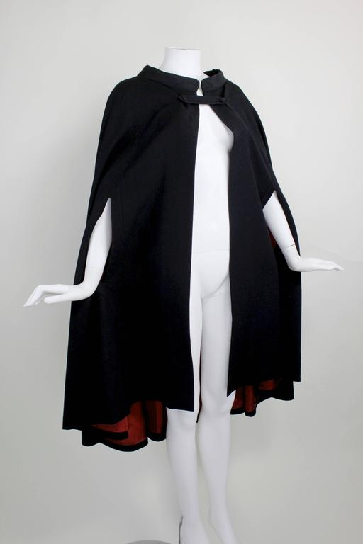 1960s Pierre Cardin Iconic Black Wool Cape with Silk Lining 4