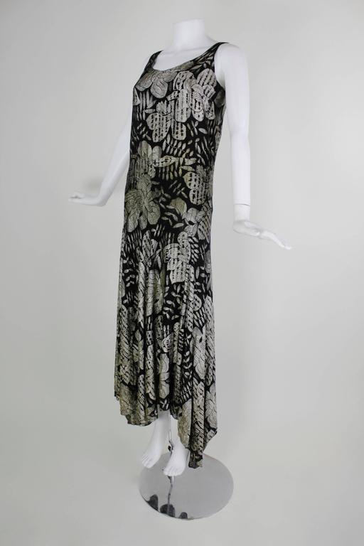 1930s Black and Gold Lamé Floral Evening Gown 2