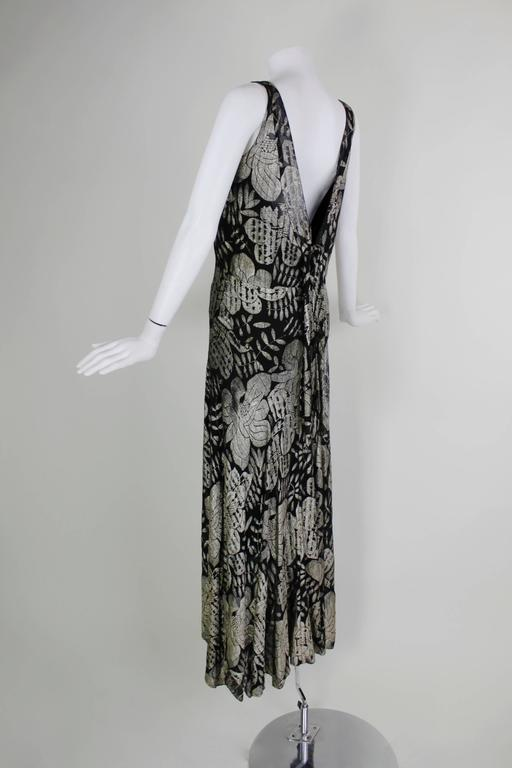 1930s Black and Gold Lamé Floral Evening Gown 4
