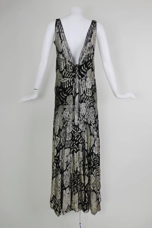 1930s Black and Gold Lamé Floral Evening Gown 5