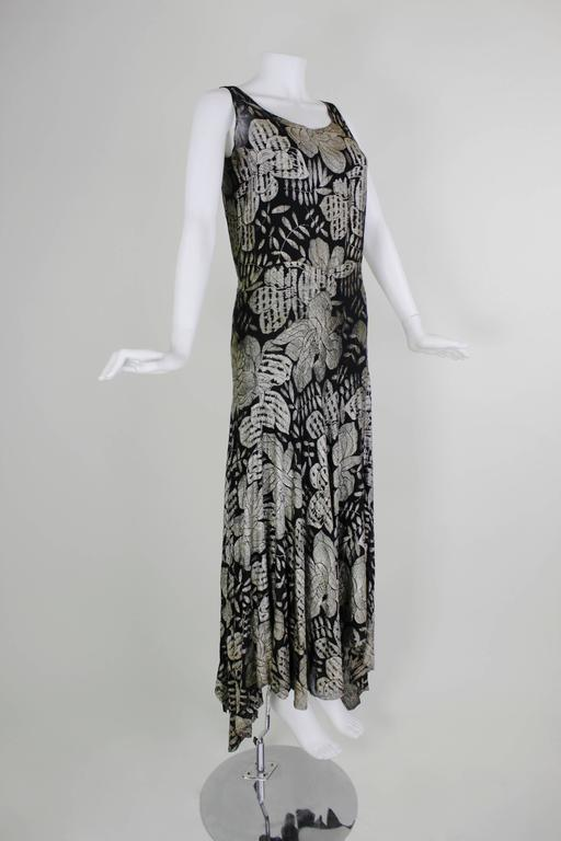 1930s Black and Gold Lamé Floral Evening Gown 3