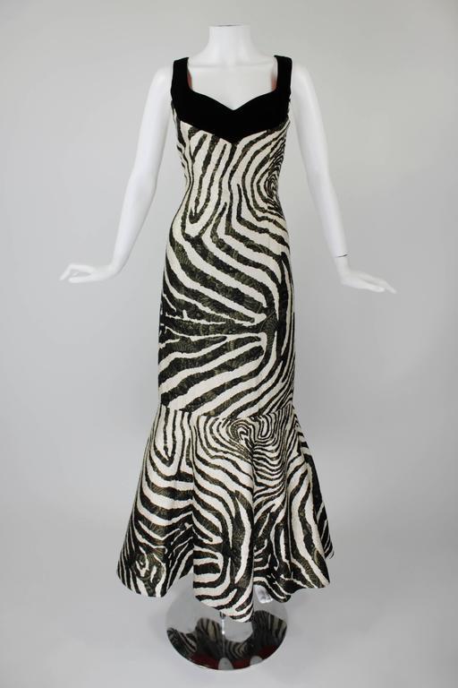 1980s Scaasi Metallic Zebra Fishtail Gown with Fringe Wrap 4