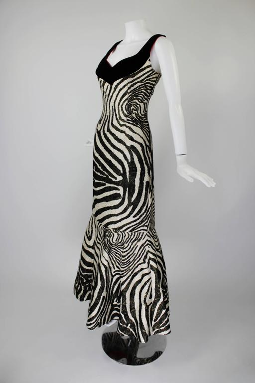 1980s Scaasi Metallic Zebra Fishtail Gown with Fringe Wrap 3