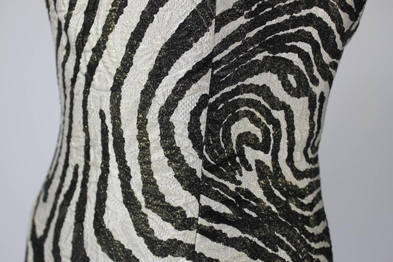 1980s Scaasi Metallic Zebra Fishtail Gown with Fringe Wrap 7