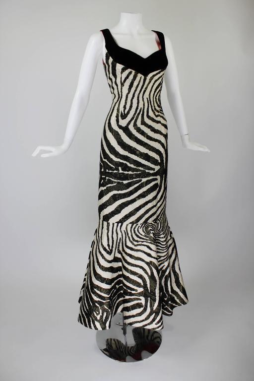 1980s Scaasi Metallic Zebra Fishtail Gown with Fringe Wrap 2