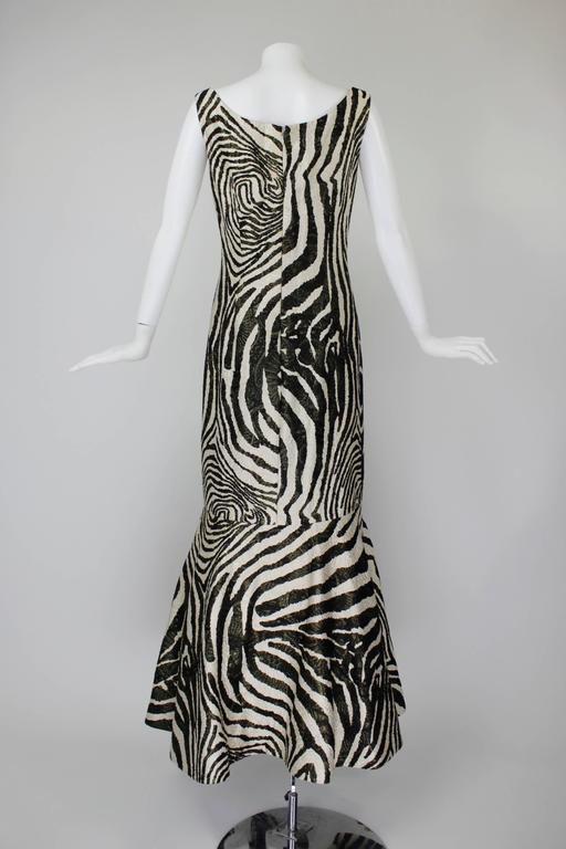1980s Scaasi Metallic Zebra Fishtail Gown with Fringe Wrap 5