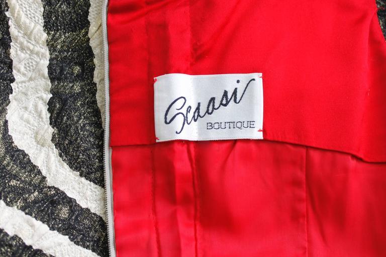 1980s Scaasi Metallic Zebra Fishtail Gown with Fringe Wrap 8
