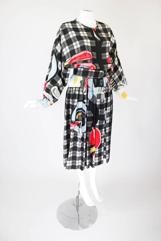 1980s Vollbracht Belted Breakfast Novelty Dress 4