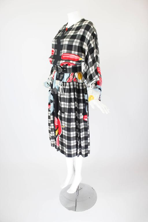 1980s Vollbracht Belted Breakfast Novelty Dress 3