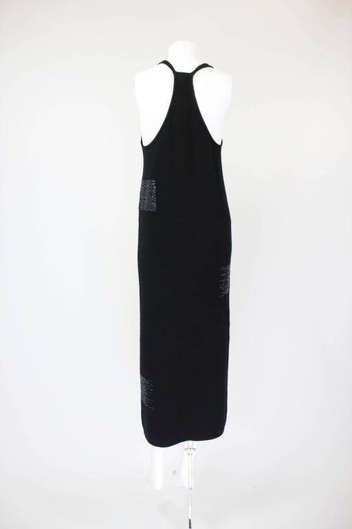 1990s Krizia Black Cashmere Beaded Dress with Shell 2