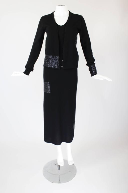 1990s Krizia Black Cashmere Beaded Dress with Shell 4