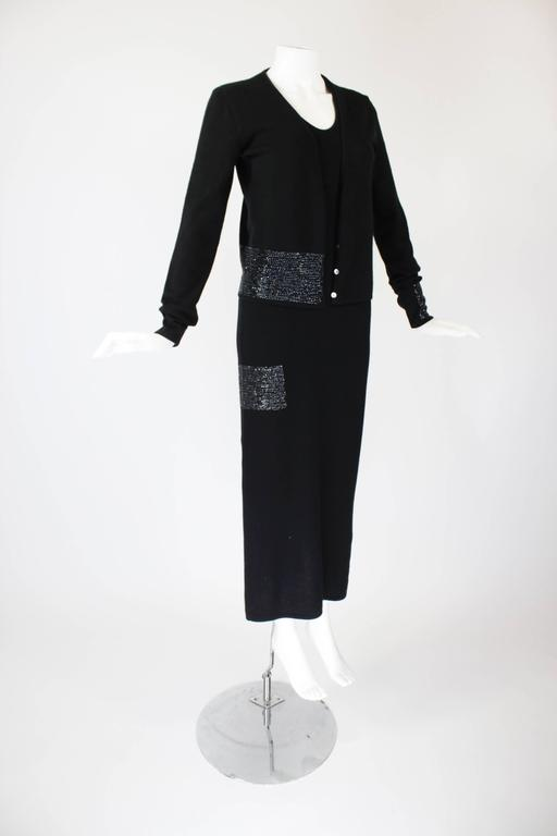 1990s Krizia Black Cashmere Beaded Dress with Shell 5