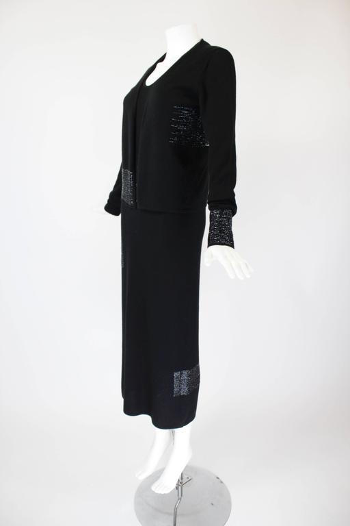 1990s Krizia Black Cashmere Beaded Dress with Shell 6