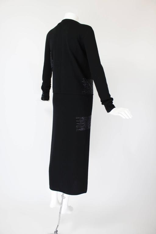 1990s Krizia Black Cashmere Beaded Dress with Shell 3