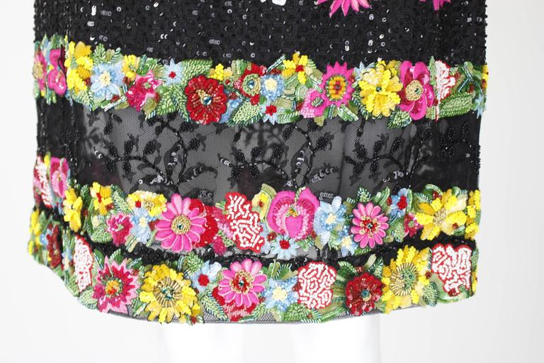 1990s Valentino Floral Embroidered and Bead Embellished Evening Skirt 6