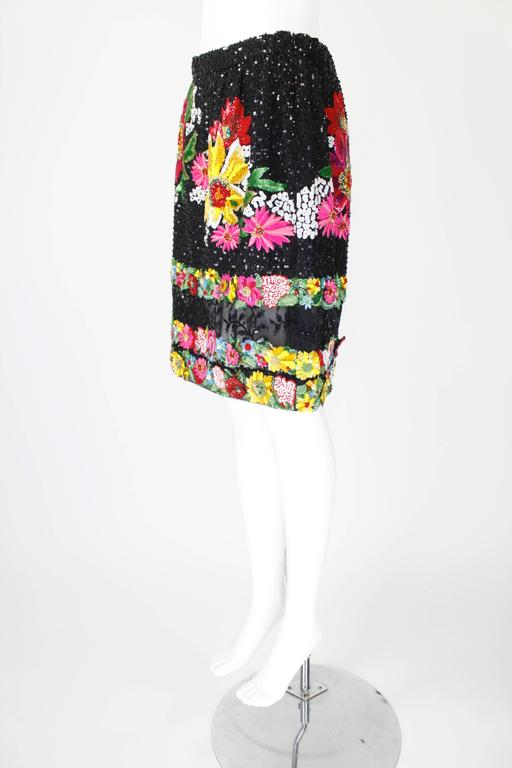 1990s Valentino Floral Embroidered and Bead Embellished Evening Skirt 2
