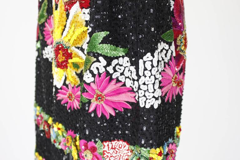 1990s Valentino Floral Embroidered and Bead Embellished Evening Skirt 5