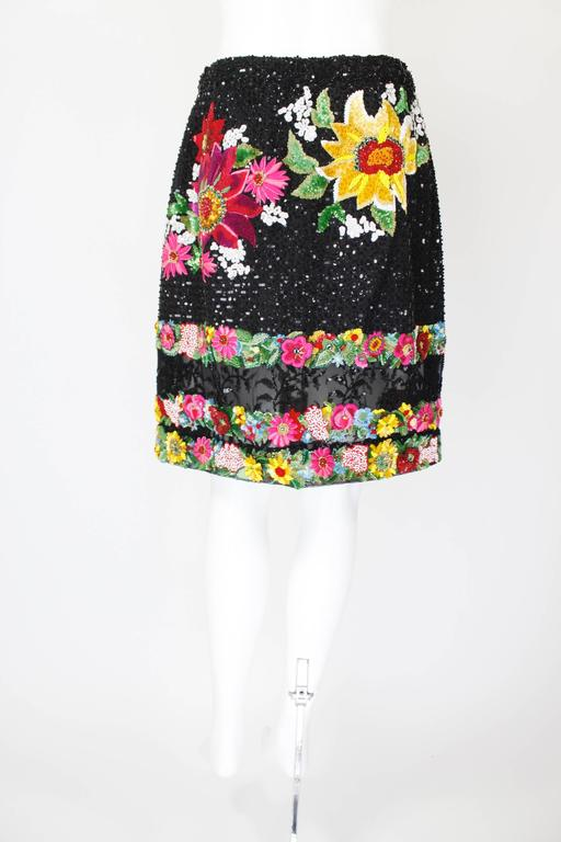 1990s Valentino Floral Embroidered and Bead Embellished Evening Skirt 3