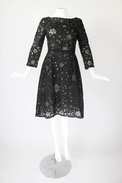 Oscar De La Renta Black Beaded Illusion Lace Organza Cocktail Dress 4