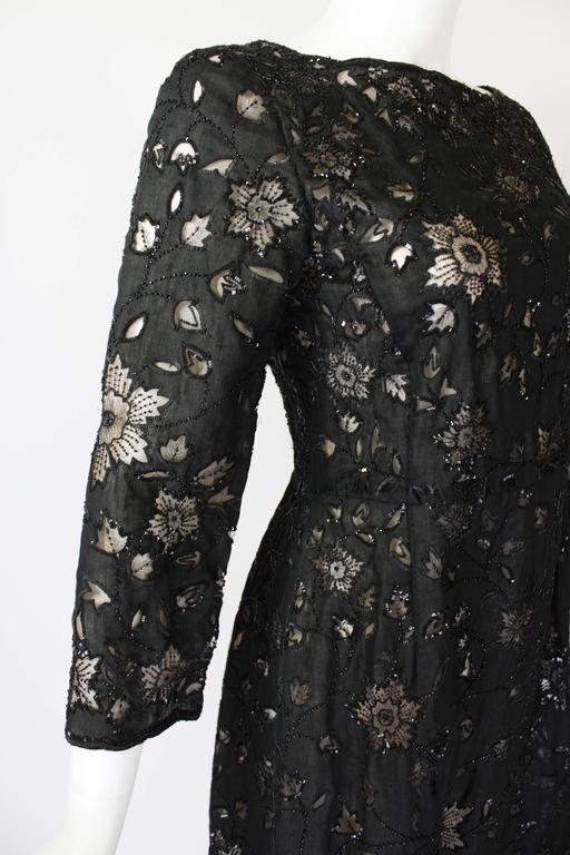 Oscar De La Renta Black Beaded Illusion Lace Organza Cocktail Dress 7