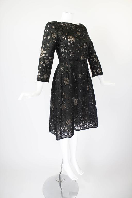 Oscar De La Renta Black Beaded Illusion Lace Organza Cocktail Dress 5