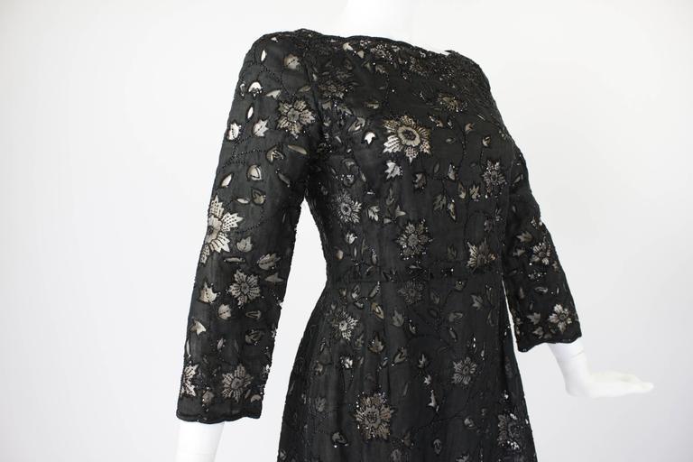 Oscar De La Renta Black Beaded Illusion Lace Organza Cocktail Dress 6